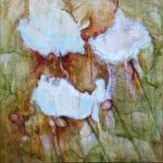 Yvonne Kieft - Dynamic Organics IX, 'Traces in my Garden', olieverf doek 40x40 cm, 2016