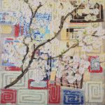 Tamar Shilo - 'Japanese flowering', collage acryl - papier op doek,  30 x 30 cm