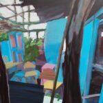 Tjits van der Kooij - Het dak is er af, maar de inboedel staat er nog, acryl op canvas, 60 x 75 cm