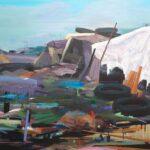 Tjits van der Kooij - Bungalowpark DE VUILNISBELT, acryl op canvas, 90 x 120 cm