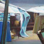 Tjits van der Kooij - De bewoners zijn niet thuis, acryl op canvas, 70 x 90 cm