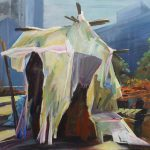 Tjits van der Kooij - Woestijnbewoner wordt stadsnomade, acryl op canvas, 80 x 100 cm