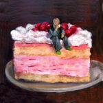 Jet Naftaniel-Joëls - Geertje op de taart, Mixed Media, 18x18cm, 2008