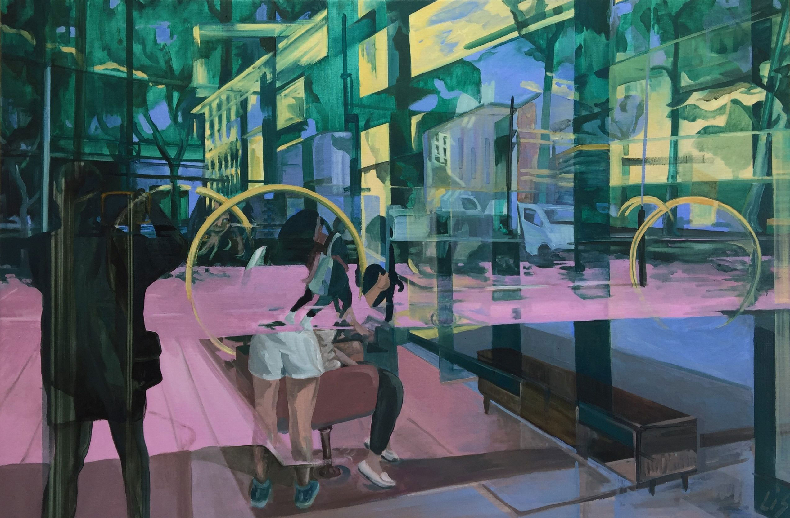 Liesbeth Schouten, 'Zuidas bespiegelingen (12)' , 80 x 120 cm, schilderkunst, € 950