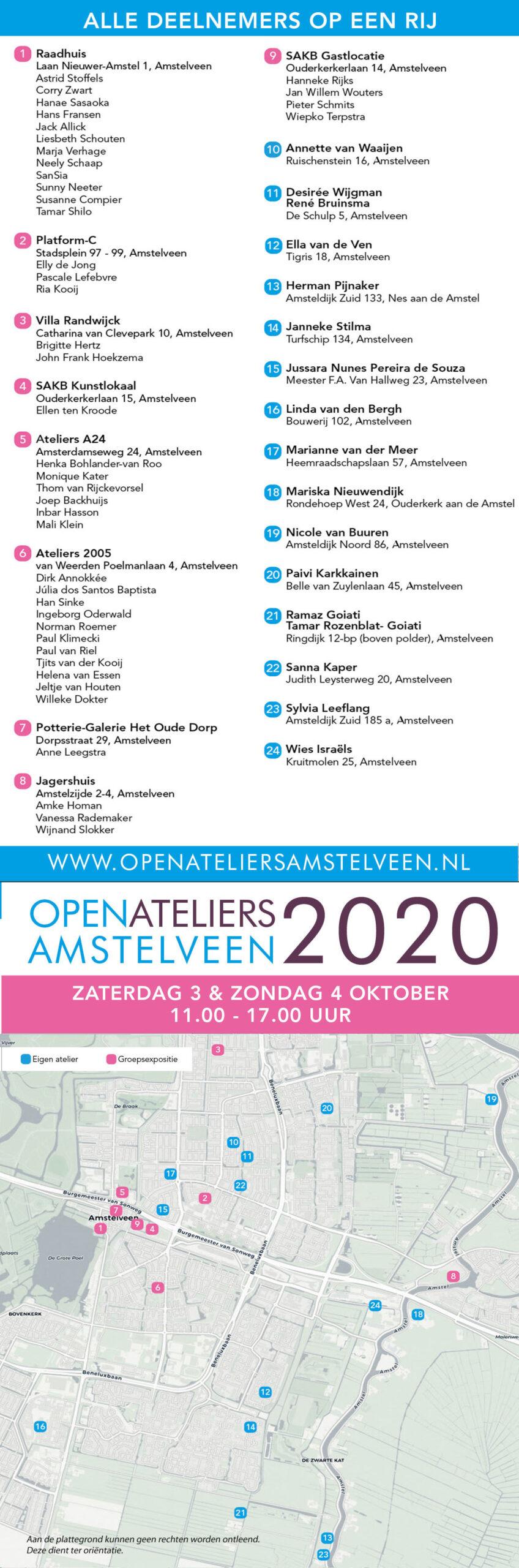 plattegrond open atelierroute amstelveen 2020